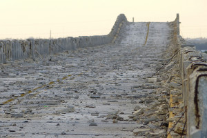 Abandoned roadway built atop Bahia Honda iron bridge works